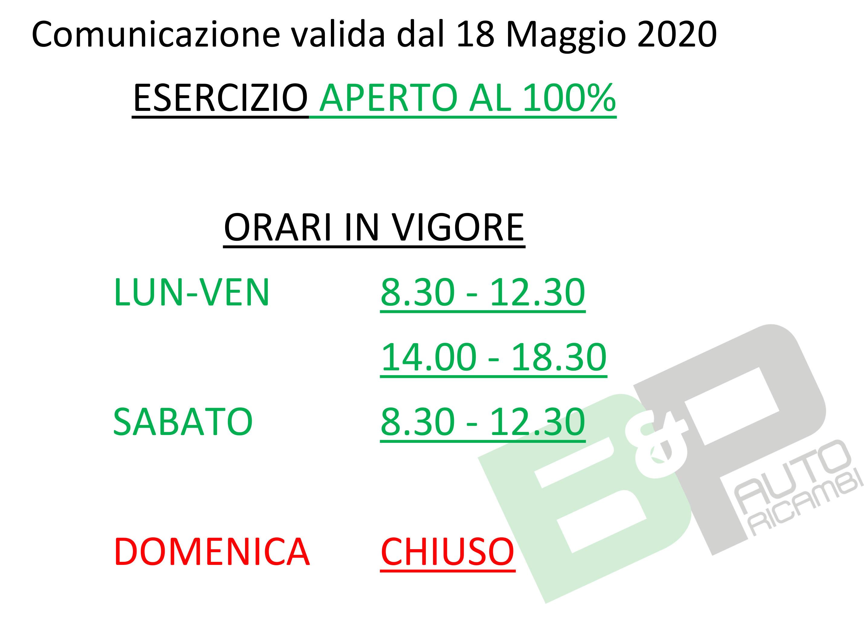 18 MAGGIO 2020 - ESERCIZIO APERTO