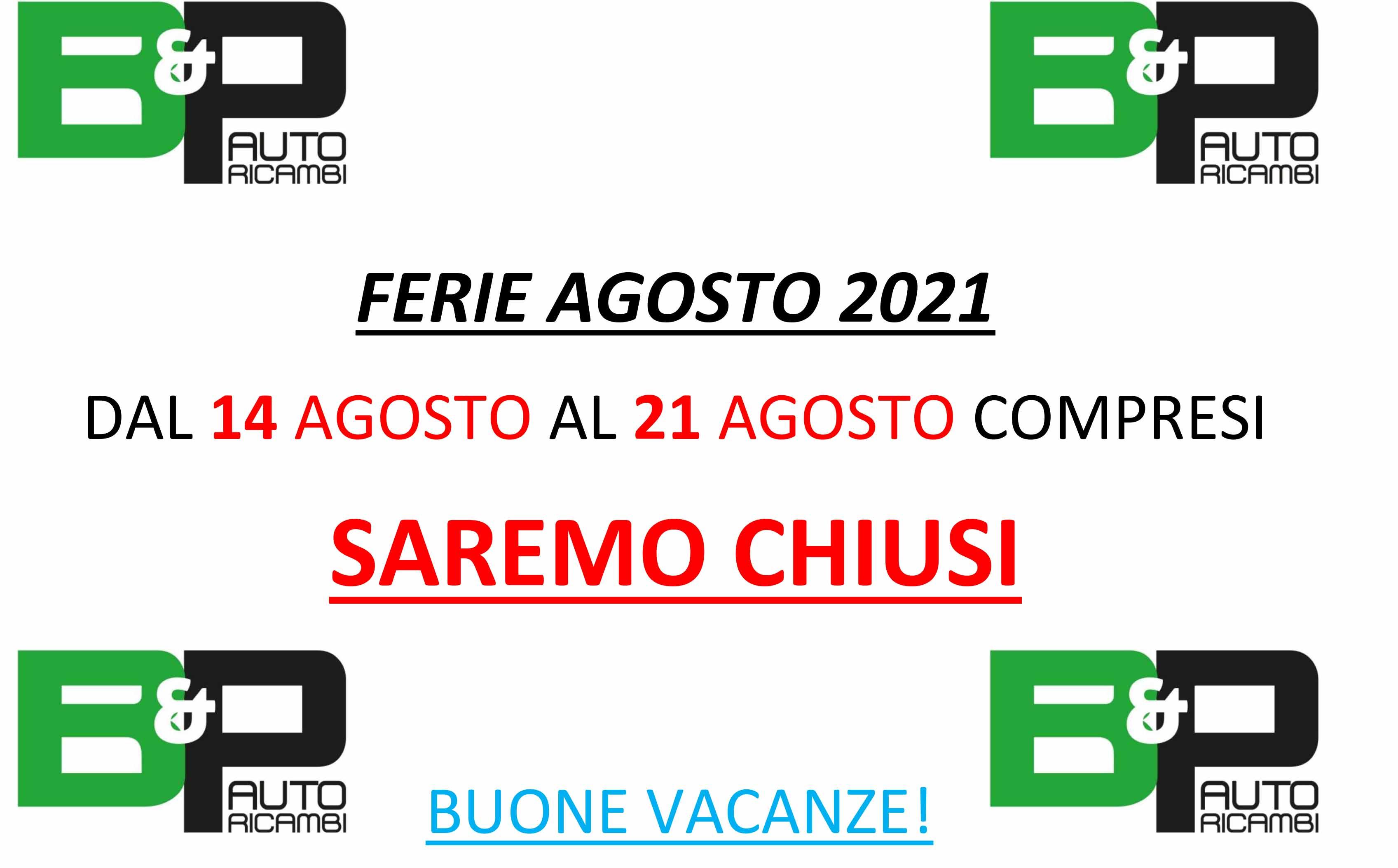 FERIE AGOSTO 2021